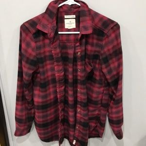 American eagle red and black button down flannel